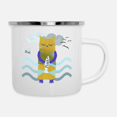 Paper Boat Cat with fish and waves - Enamel Mug