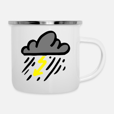 Lightning Storm cloud with yellow lightning / thunderstorm - Enamel Mug