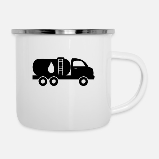 Wealth Mugs & Drinkware - A vehicle with diesel and gasoline - Enamel Mug white