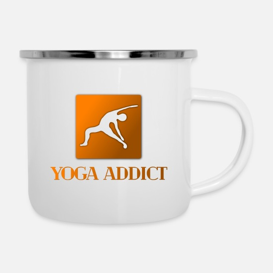 Birthday Mugs & Drinkware - Yoga Pose seeks spiritual power - Enamel Mug white