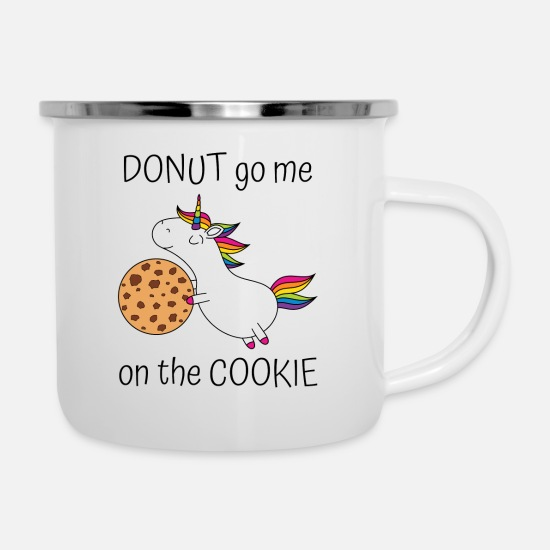 Cookie Tassen & Becher - Einhorn Donut Go Me On The Cookie mit Cookie - Emaille-Tasse Weiß