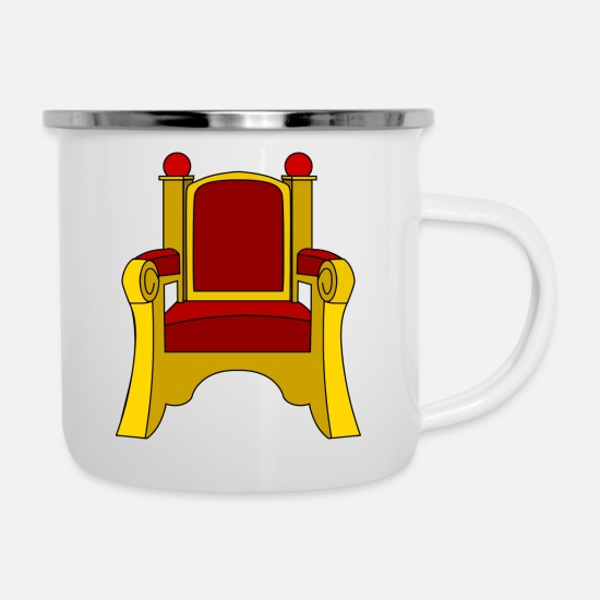 Gold Mugs & Drinkware - crown crown king king castle castle tower burg4 - Enamel Mug white