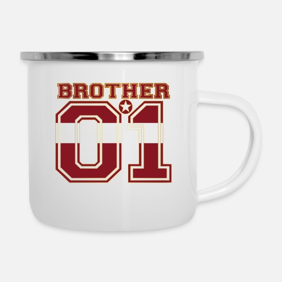 Love Mugs & Drinkware - brother brother brother 01 partner Latvia - Enamel Mug white