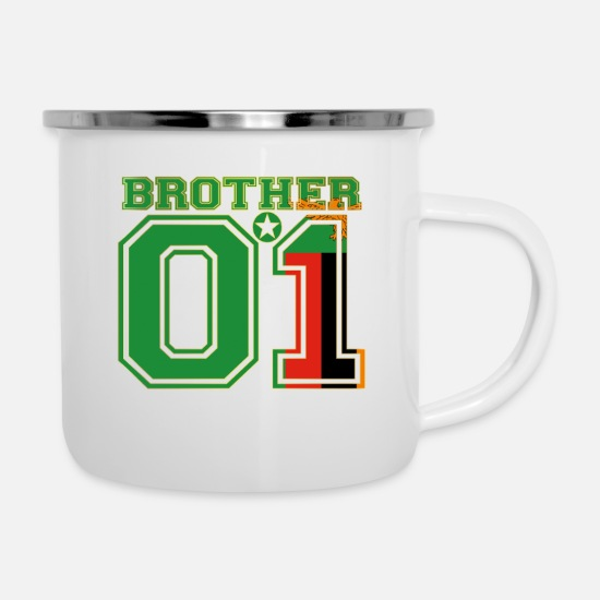 Love Mugs & Drinkware - brother brother brother 01 partner Zambia - Enamel Mug white