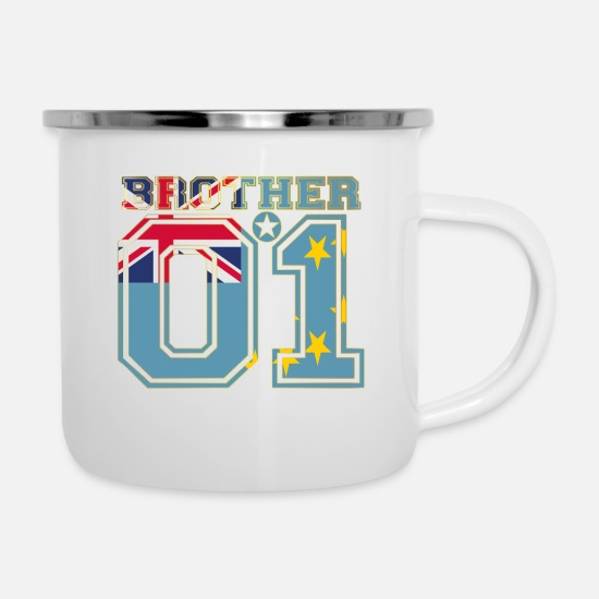 Love Mugs & Drinkware - brother brother brother 01 partner Tuvalu - Enamel Mug white