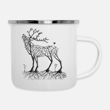 Forest deer in black - Enamel Mug