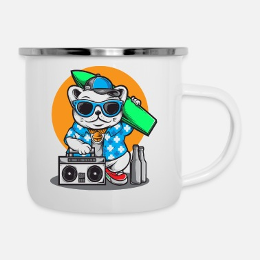 Surf Music surfing cat - Enamel Mug