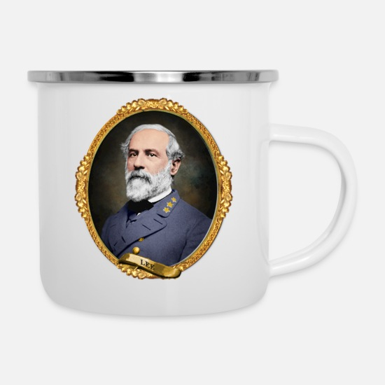 Dixie Tassen & Becher - Robert E Lee - Emaille-Tasse Weiß