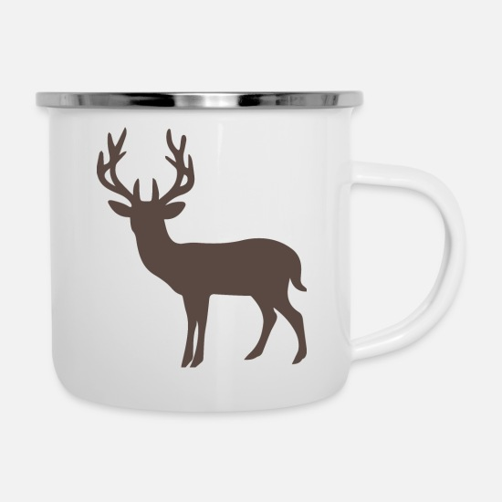 Black Forest Mugs & Drinkware - black forest deer black forest antlers hunting J - Enamel Mug white