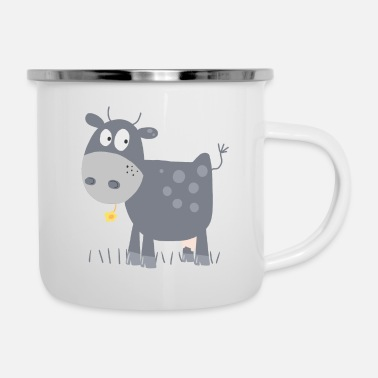 Herre Cute Little Cow With Flower Comic - Emaljekrus
