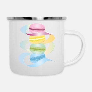 four macarons in delicate pastel colors with ribbon - Enamel Mug