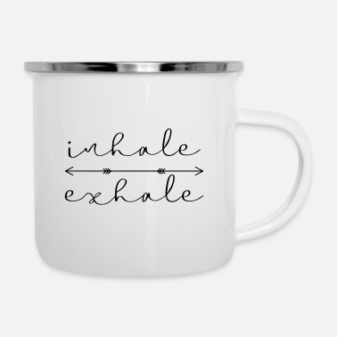 inhale exhale yoga meditation gift idea - Enamel Mug