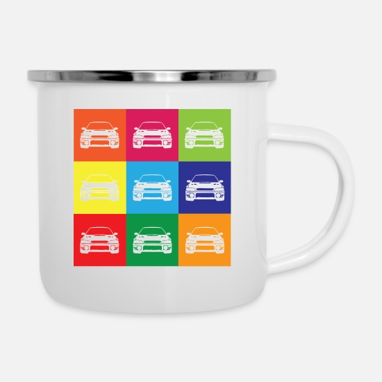 Colourful Mugs & Drinkware - Multi Colour Impreza - Enamel Mug white