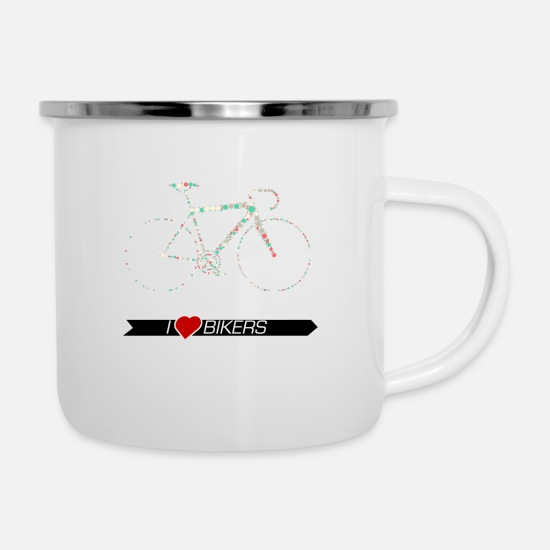 Biker Mugs & Drinkware - Bike racing bike Kreismuster - Enamel Mug white