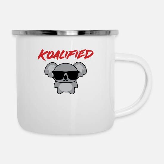 Stylish Mugs & Drinkware - Koala - T-shirt - Sunglasses - Extra - Enamel Mug white