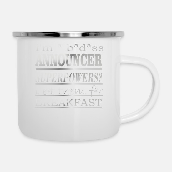 Cool Mugs & Drinkware - Announcer - Enamel Mug white