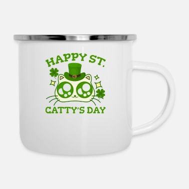 St Happy St. Catty's Day St Patricks Divertido gato trébol - Taza esmaltada