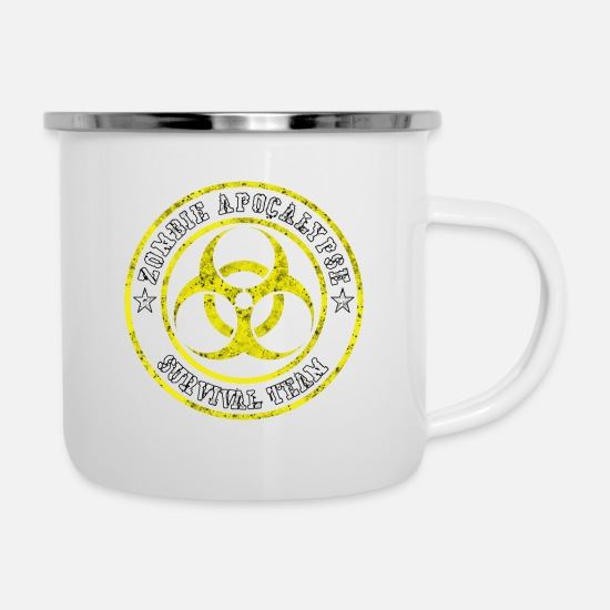 Birthday Mugs & Drinkware - Zombie Apocalypse Survival Team Gift - Enamel Mug white