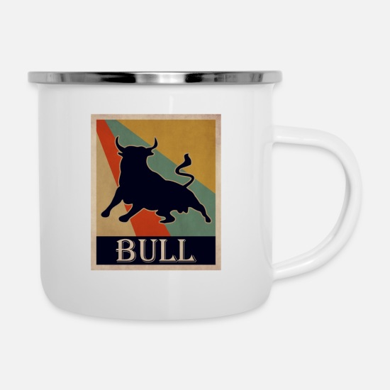 Sitting Mugs & Drinkware - bull - Enamel Mug white