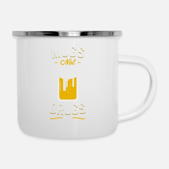 Gift Idea Mugs & Drinkware - St. Patrick's Day MUGS NOT DRUGS apparel - Enamel Mug white