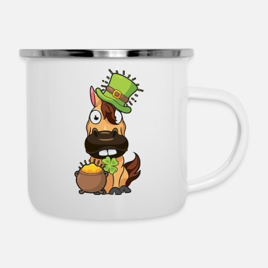 Horse rider riding St Patricks Day gift - Enamel Mug