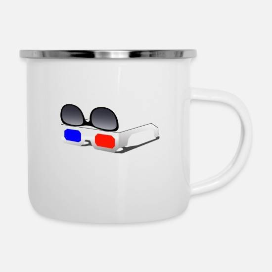 Glasses Mugs & Drinkware - Retro 3D glasses sunglasses - Enamel Mug white