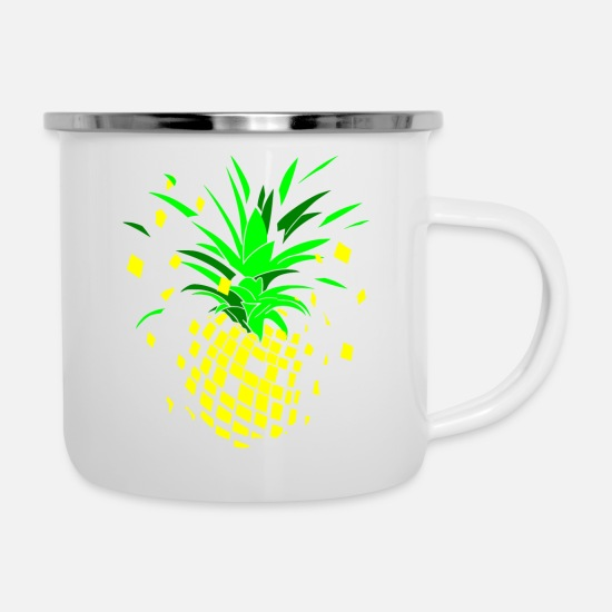 Fruity Mugs & Drinkware - Pineapple fruity explosion - Enamel Mug white