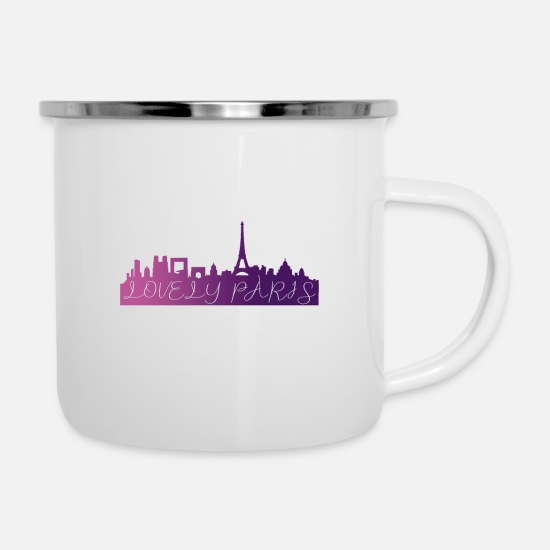 Europa Tassen & Becher - Lovely Paris Skyline - Emaille-Tasse Weiß
