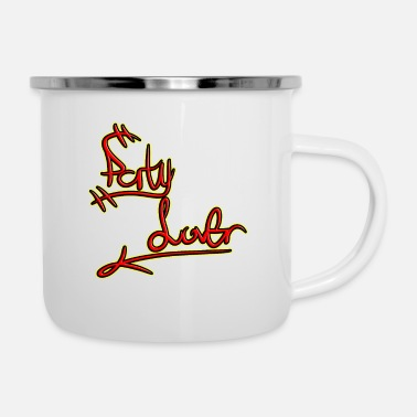 Party font in red and yellow - Enamel Mug