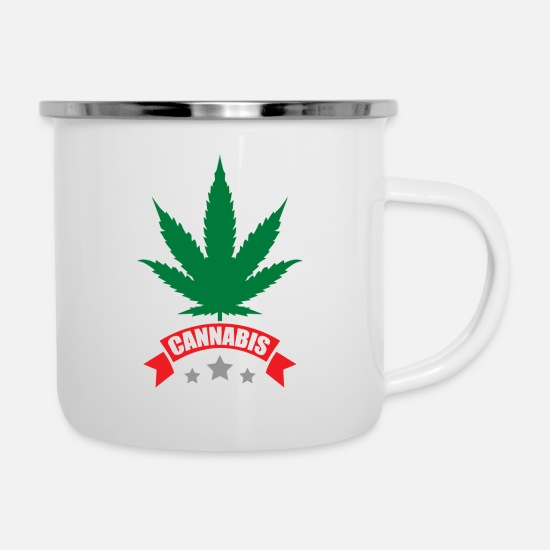 Hemp Mugs & Drinkware - Cannabis gift for stoners and freethinkers - Enamel Mug white
