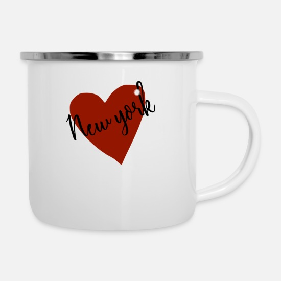 Love Mugs & Drinkware - Love NY I heart new york design - Enamel Mug white