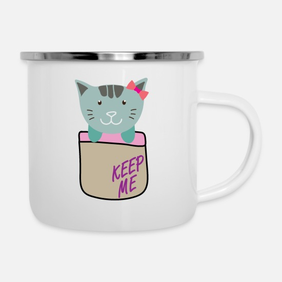 Purr Mugs & Drinkware - Cat, kitten comes out of the breast pocket, - Enamel Mug white