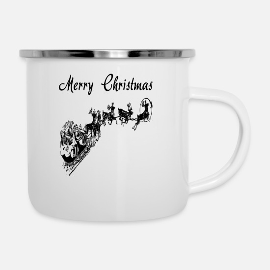 Santa Mugs & Drinkware - Santa with sleigh T-shirt - Enamel Mug white