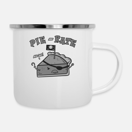 Gift Idea Mugs & Drinkware - Cake piece | Piece of cake | Pirate | cupcake love - Enamel Mug white