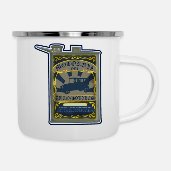 Motor Mugs & Drinkware - Vintage motor oil can - Enamel Mug white