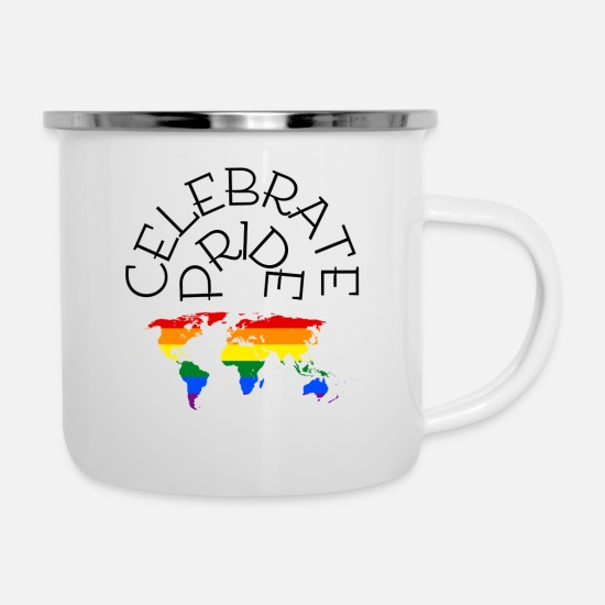 Gay Pride Mugs & Drinkware - Celebrate Pride - Enamel Mug white