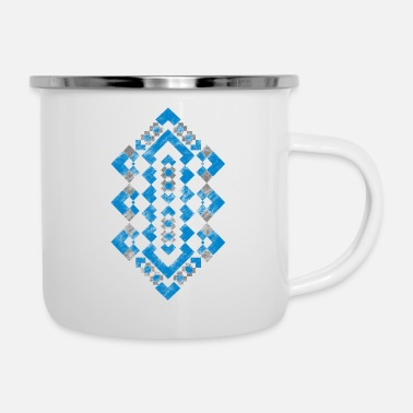 Navajo Navajo Geometric Tribal Pattern Earth Toned Tribal - Enamel Mug