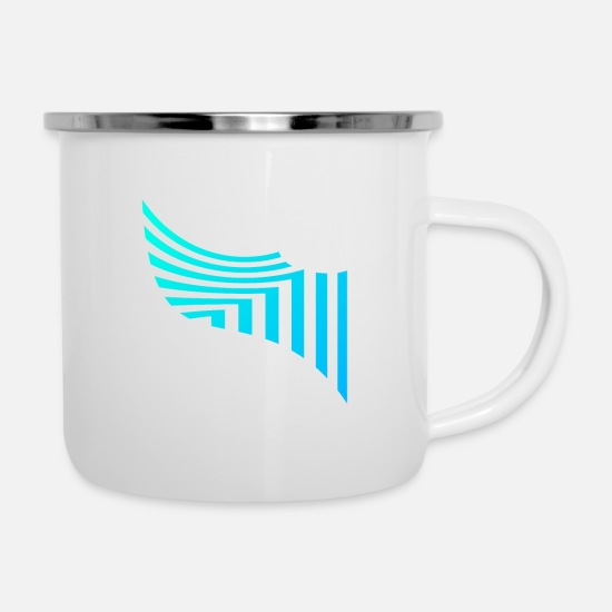 Horizontal Mugs & Drinkware - Stripe pattern shirt - Enamel Mug white