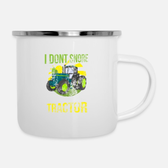 A Tazze & Accessori - Distressed I Do not Snore I Dream I'm a Tractor - Tazza smaltata bianco