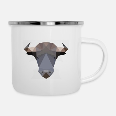 Bull, bull head polygon geometric - Enamel Mug