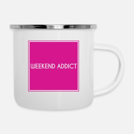 Sloth Mugs & Drinkware - Weekend addictive addiction to weekend - Enamel Mug white