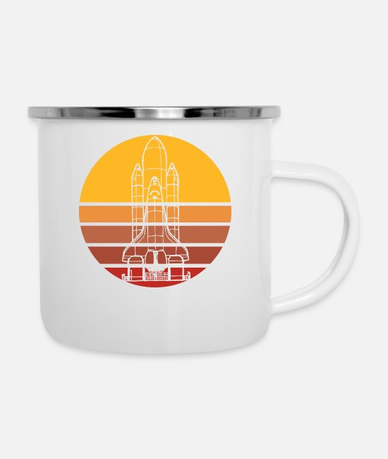 Moon Landing Mugs & Drinkware - Space shuttle rocket in sun retro - Enamel Mug white