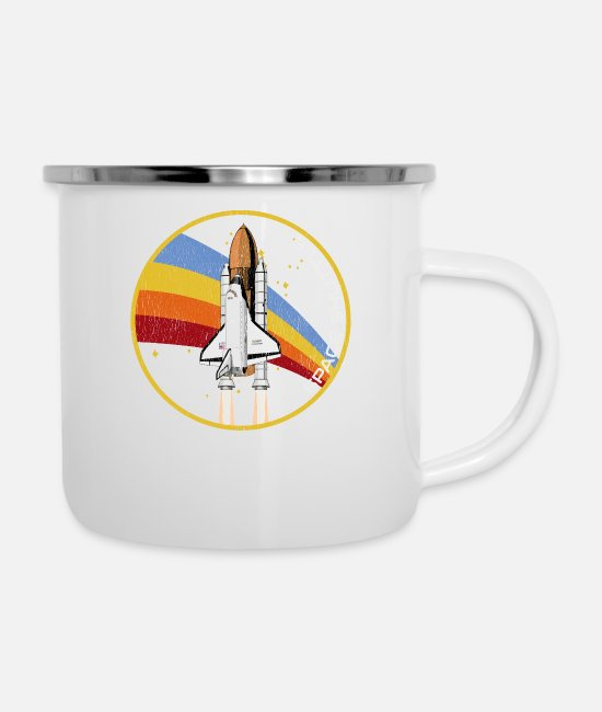 Moon Landing Mugs & Drinkware - Space Shuttle Launch Rocket Distressed Look - Enamel Mug white