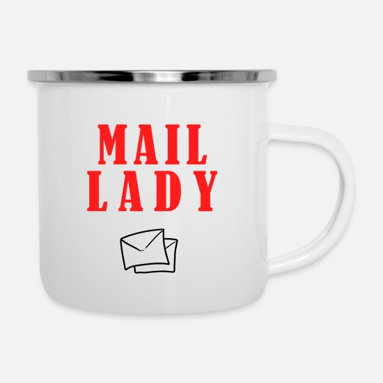 Broadcast Mugs & Drinkware - Postman Botin Post Letter Package Shipment Courier - Enamel Mug white