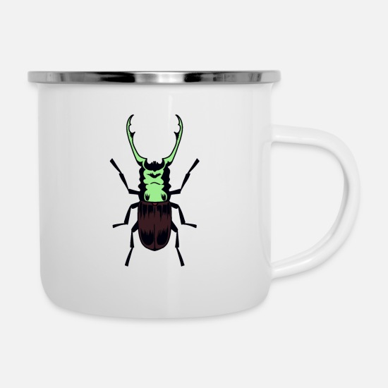 Gift Idea Mugs & Drinkware - stag beetle - Enamel Mug white