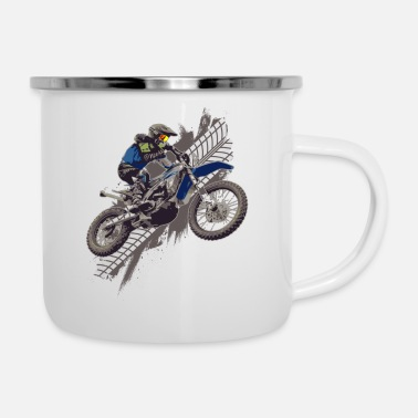 Gas Motocross Off Road Biker Dirt Bike - Enamel Mug