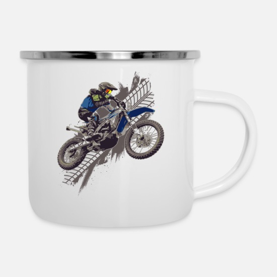 Motor Mugs & Drinkware - Motocross Off Road Biker Dirt Bike - Enamel Mug white