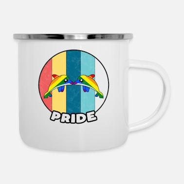 Wedding Day Gay Pride Vintage Gay Home Marriage Gift Idea - Enamel Mug