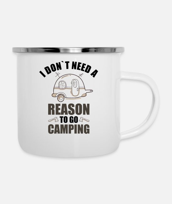 Birthday Mugs & Drinkware - Camping Campsite Camper Say camp camping - Enamel Mug white