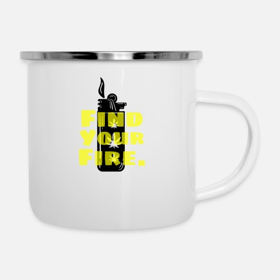Birthday Mugs & Drinkware - Lighter Fire Smoker Pothead Grass Weed Gift - Enamel Mug white